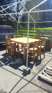 High Top Table and 6 Chairs Solid Pine (Cloverdale)