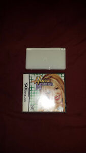 White ds lite with hannah montana,nintendogs,my fun facts coach