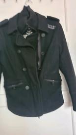 Superdry womens medium wollen navy jacket