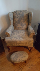 Anitque Reupholsteed Chair with Ottomon