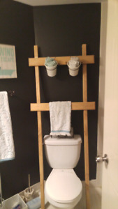 Over the toilet ladder with two storage buckets