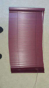 Four Levolor Maroon Window Blinds (3 different sizes)