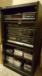Panasonic stereo/sound system with speakers and cabinet