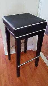 Contemporary Leather Accent Bar / Counter Stool