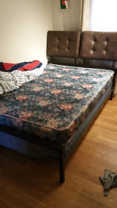 Leather bed frame mattress and box