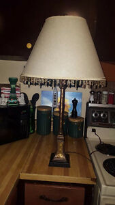 "Beaded Shade Antique Tall Lamp  31"" Tall"