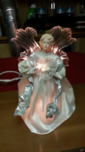 VINTAGE ANIMATED ANGEL TREE TOPPER -  LIGHTS AND MOVES