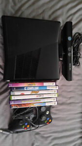 Xbox 360 with 2 controllers and Kinect and 6 games