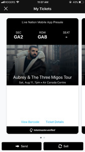 Drake & Migos Floor Seat @ Scotiabank Arena SATURDAY AUGUST 11