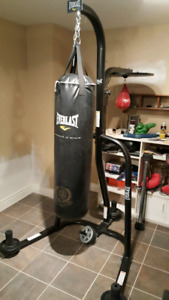 Everlasting heavy punching bag, speed bag and stand