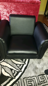 Childrens black leather Armchair