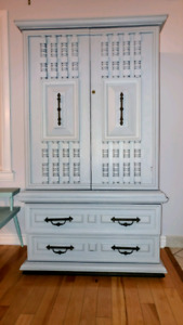 Solid, sturdy and stacked! 2 section tall boy dresser/armiore