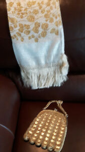 Vintage gold & silver scarf with gold purse