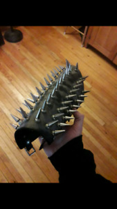 2 spiked custom leather gauntlets
