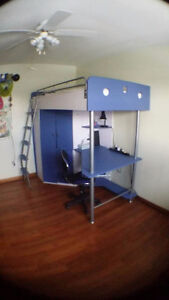 JYSK LAIVA Loft Bed Blue/White with Matching Dresser and Cabinet