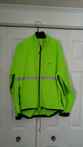 Neon green Running Room jacket, size L, asking $50