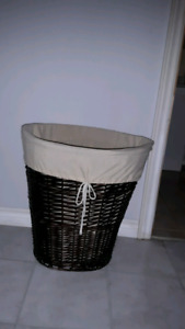 IKEA Wicker hamper with removable cloth bag