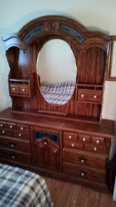 Stained Glass Dresser, inset mirror headplate: For Sale 300 obo