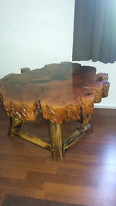 Burl Coffee Table and 2 Matching End Tables