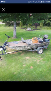 12ft Jon boat with motor and trailer