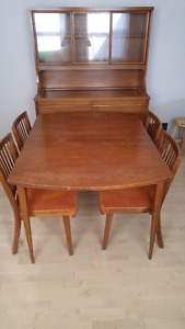 Mid-century dining set and hutch