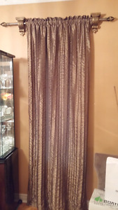 2 Gold Drapes, 2rods and 4decorative rod holders