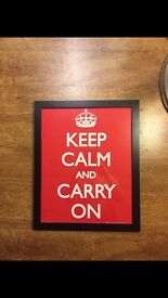 Keep calm & carry on ww2 print poster framed shop prop advertising prop wall display