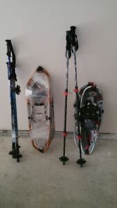2 pair of snowshoes with poles and carry bag for the heavier one