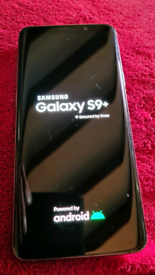 Samsung Galaxy S9+ 128GB with accessories and case.