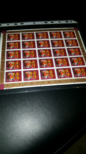 Complete Sheet of 25 Canadian stamps (Year of tiger ).