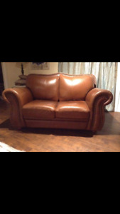 Brown leather loveseat and chair for sale