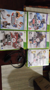 Xbox 360 sports games + headset