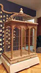 Gold wood and wire bird cage