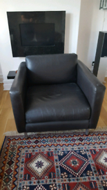 Habitat brown leather chair