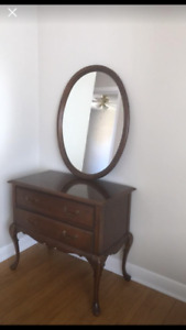 Hall Dresser with detached mirror above and two drawers