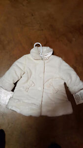 White Winter Coat 6-9 months, never worn, still has tags