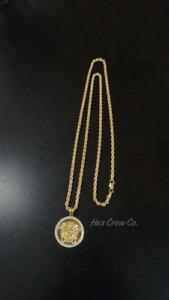 """10K Gold Iced (CZ) Medusa + 10K Gold Rope Chain 3mm 26"""""""
