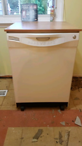Ge dishwasher white with movable wood countertops