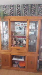 Wood hutch with glass