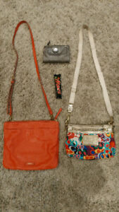 Fossil and coach crossbody bags, purses, shoulder bag, coral