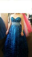 Jovani - Blue strapless gown with sequins & beads-  size 10