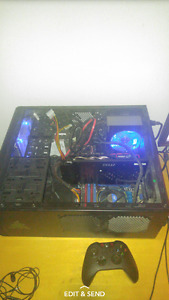 Gaming pc with monitor and keyboard