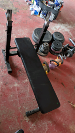 Folding weights bench, weights and bars