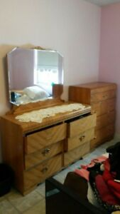 DRESSER WITH MIRROR AND NIGHT TABLE