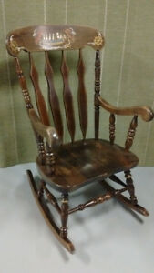 Vintage Large ROCKING CHAIR SOLID WOOD Nautical Theme