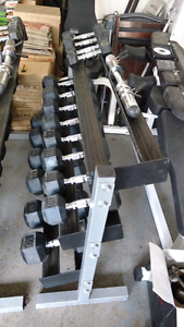 Heavy duty 3 level rack with 500 lbs of dumbells, Olympic bars..