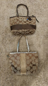 2 Coach Purses, Authentic, canvas, brown, gold, pink