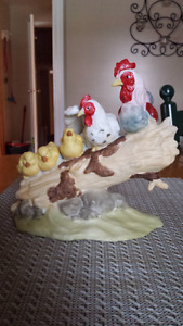 Rooster & Family porcelain ornament