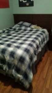 Double bed with bed rails, headboard + sheets