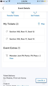 (2) Monster Jam Tix in Hamilton with Pit access